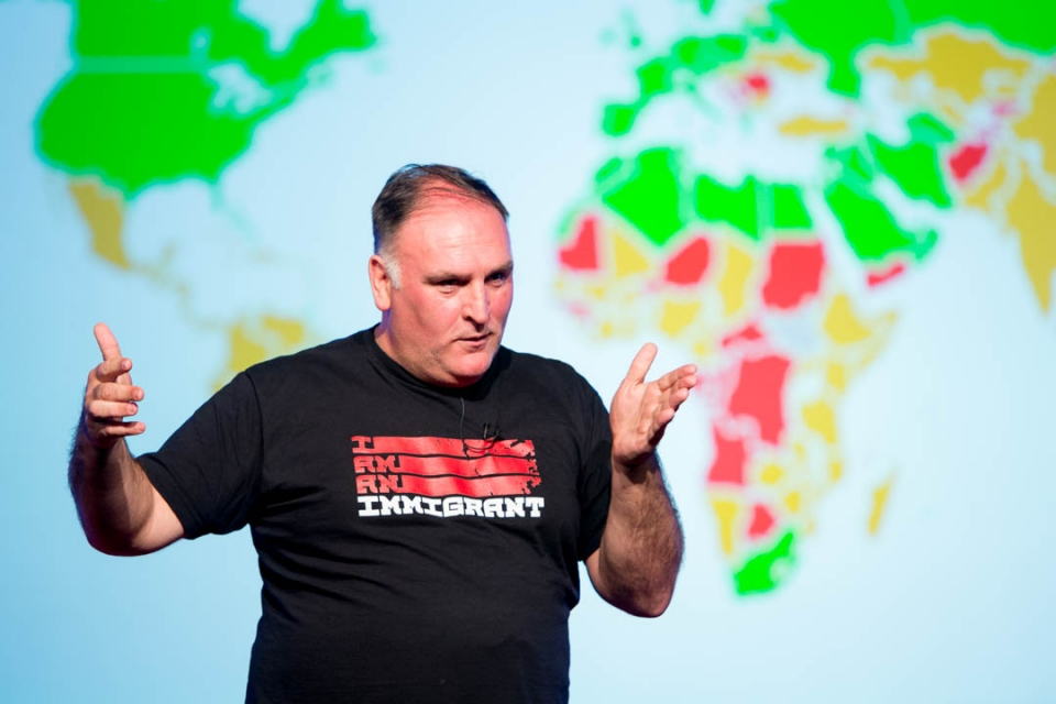 Global activist Jose Andres tells a GW class that clean cookstoves could change lives in developing countries. (William Atkins/G