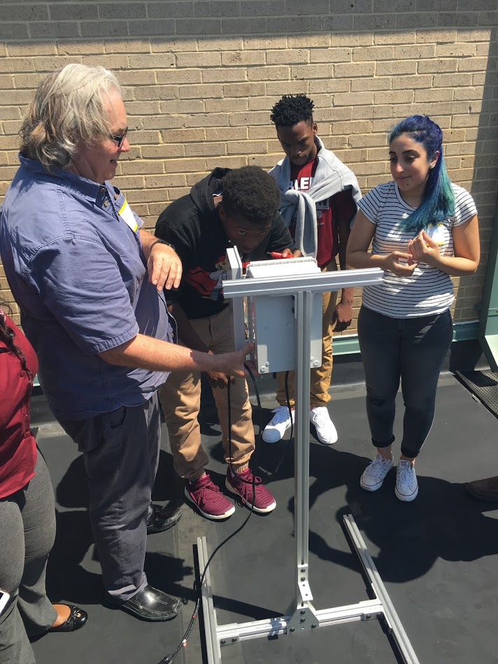 students install carbon dioxide sensor on school roof