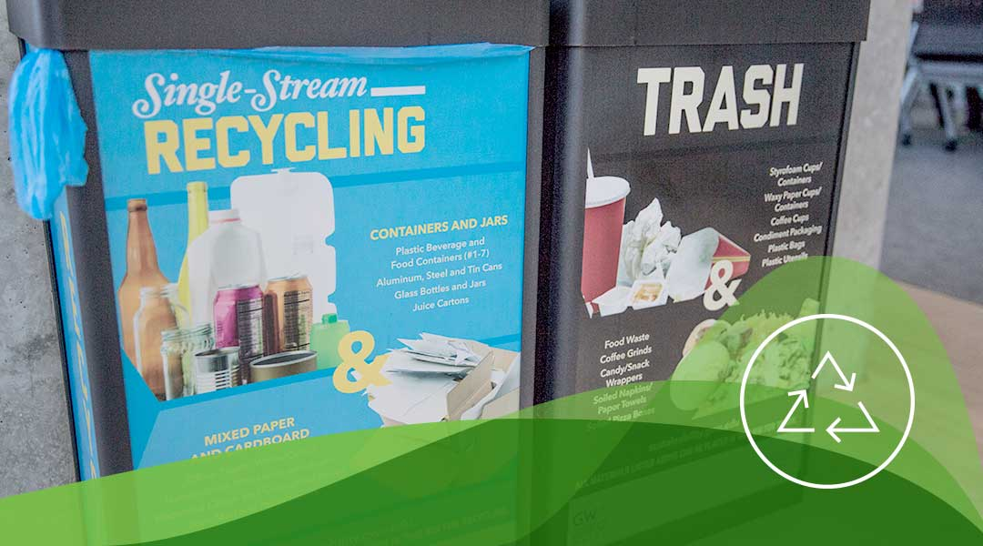 Recycling and Trash bins