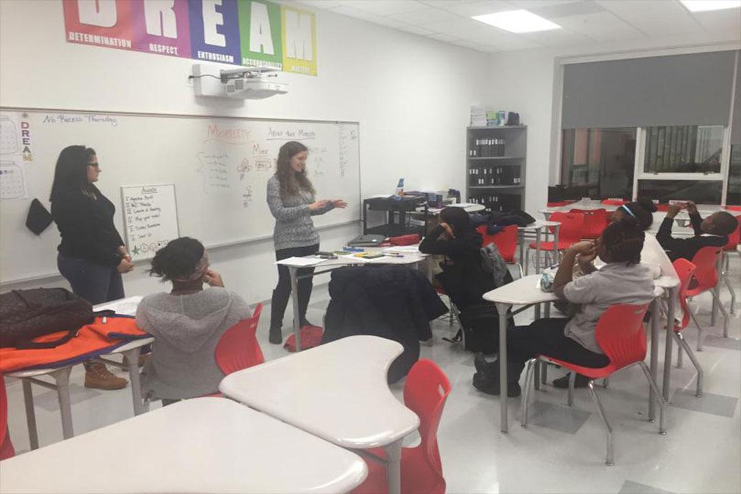 students teach at local middle school